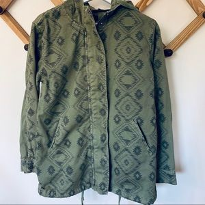 Forever 21 Aztec Print Army Green Utility Jackect